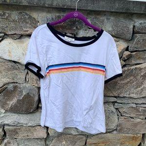 UO rainbow stripe vintage baseball style tee